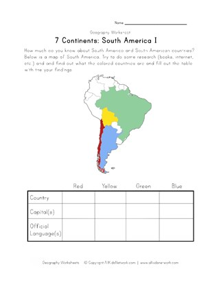 south america continent worksheet 1