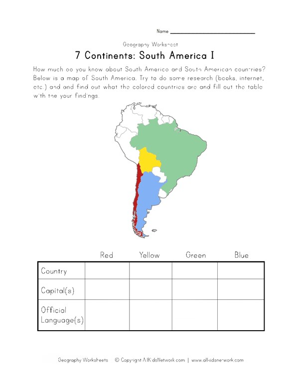 South America Continent Worksheet | All Kids Network