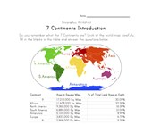 7 continents worksheet