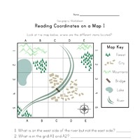 coordinates on a map worksheet