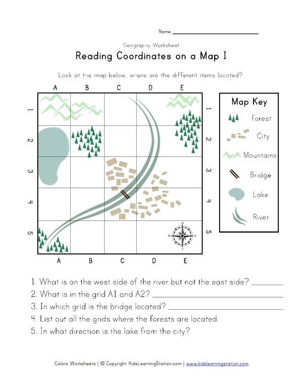 Map coordinates worksheet kidz activities reading coordinates on a map worksheet all kids network ccuart Choice Image