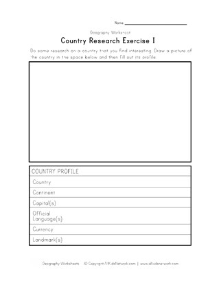 geography country research worksheet