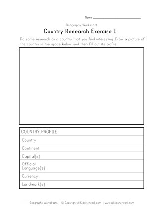 Country Research Worksheet | All Kids Network