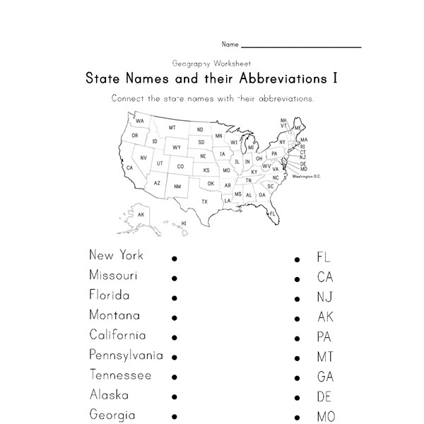 State Abbreviations Worksheet 1 | All Kids Network
