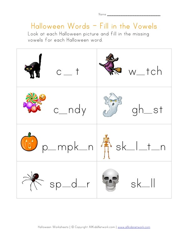 Halloween Words Fill In The Missing Letters Worksheet All Kids