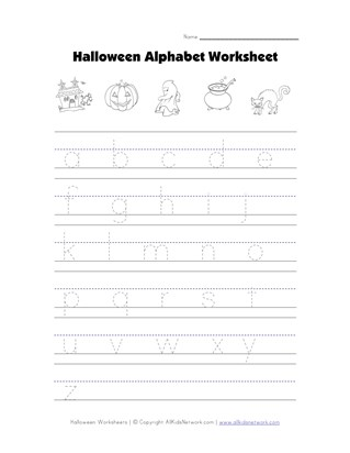 halloween worksheet - tracing lowercase letters