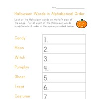 halloween alphabetical worksheet