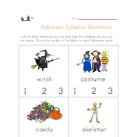 halloween syllables worksheet