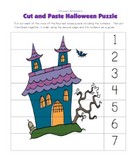 halloween cut and paste puzzle