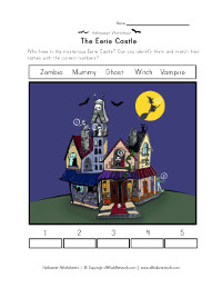 eerie castle matching worksheet