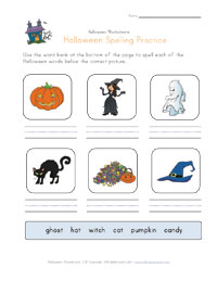 halloween spelling practice worksheet
