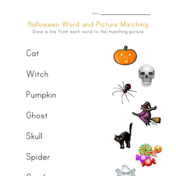 halloween word picture match
