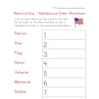 memorial day worksheet alphabetize