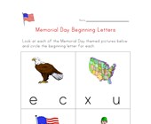 memorial day beginning letters worksheet