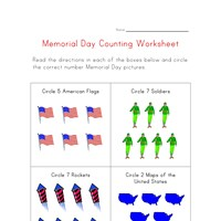 memorial day counting worksheet