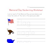 memorial day handwriting worksheet