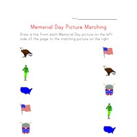 memorial day matching worksheet