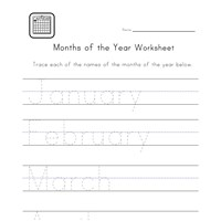 writing months worksheet