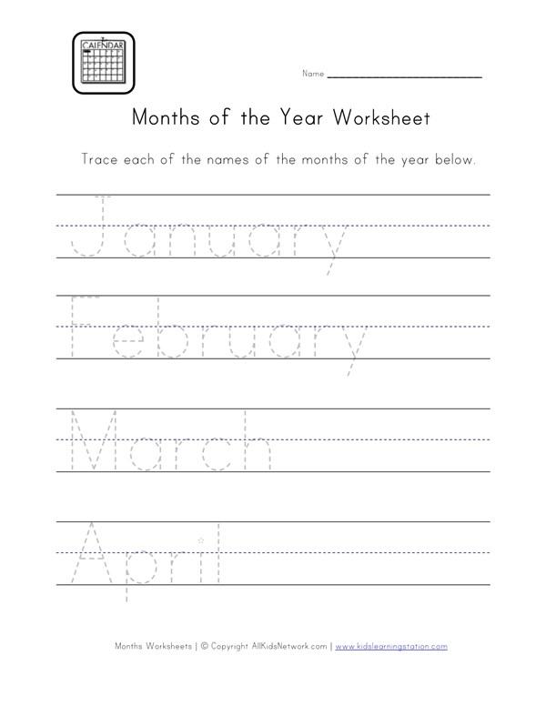 Months Handwriting Worksheet All Kids Network