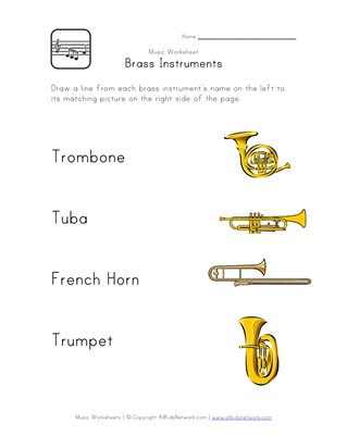 brass instruments worksheet