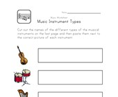 instruments types worksheet
