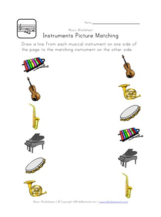 music picture matching worksheet