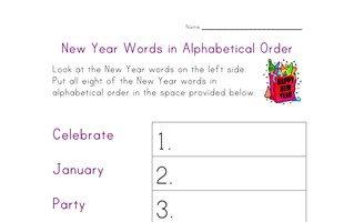 new year alphabetical worksheet