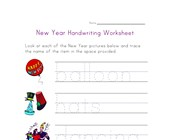 new year handwriting worksheet