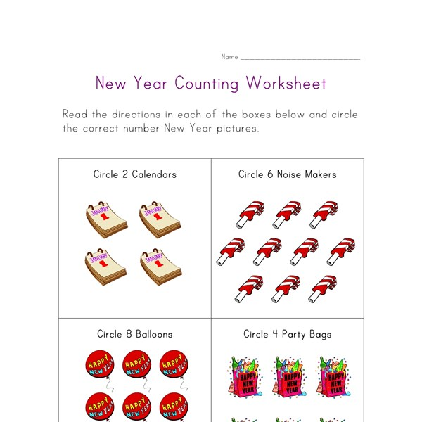 new year counting worksheet