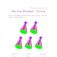 new year counting five worksheet