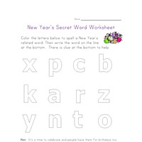 new year's spelling worksheet