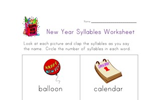new years syllables worksheet