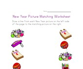 new year matching worksheet