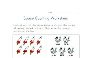 space counting practice worksheet