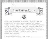 Planet Earth Worksheet