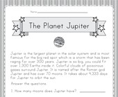 Planet Jupiter Worksheet
