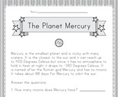 Planet Mercury Worksheet