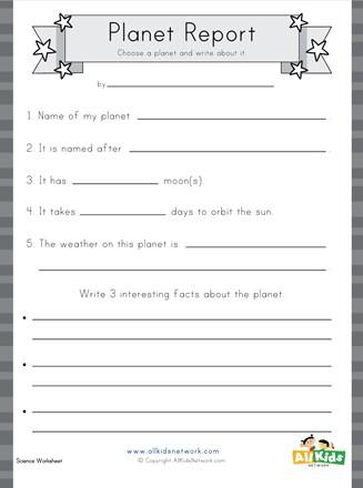 Planet Report Worksheet All Kids Network