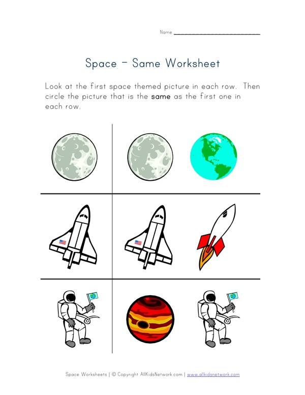 Things that are the same worksheet space theme all kids network ccuart Choice Image