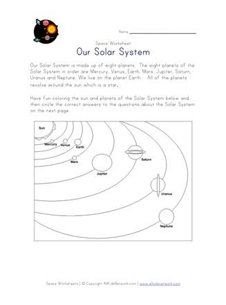 Solar System Worksheet All Kids Network