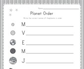 Write Planets in Order Worksheet