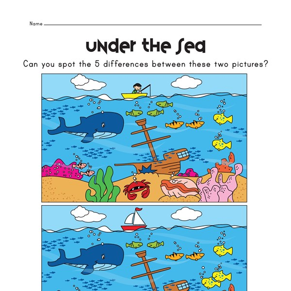View and Print Your Free Spot the Difference in the Ocean Worksheet