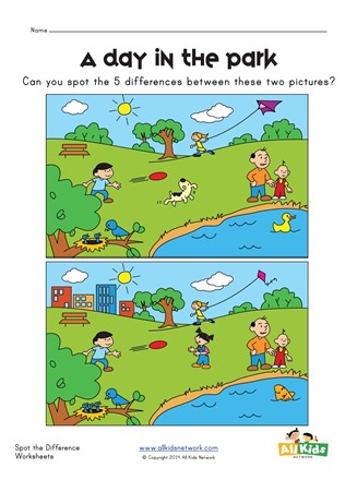 picture regarding Find the Difference Between Two Pictures Printable referred to as Place the Big difference at the Park Worksheet All Small children Community