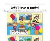 spot the difference party worksheet