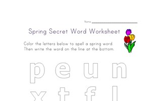 spring secret word worksheet