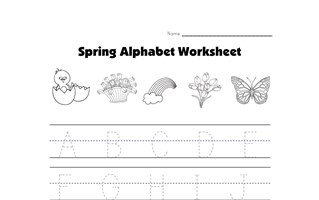 spring traceable alphabet worksheet