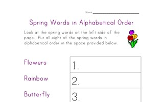spring worksheet - alphabetical order