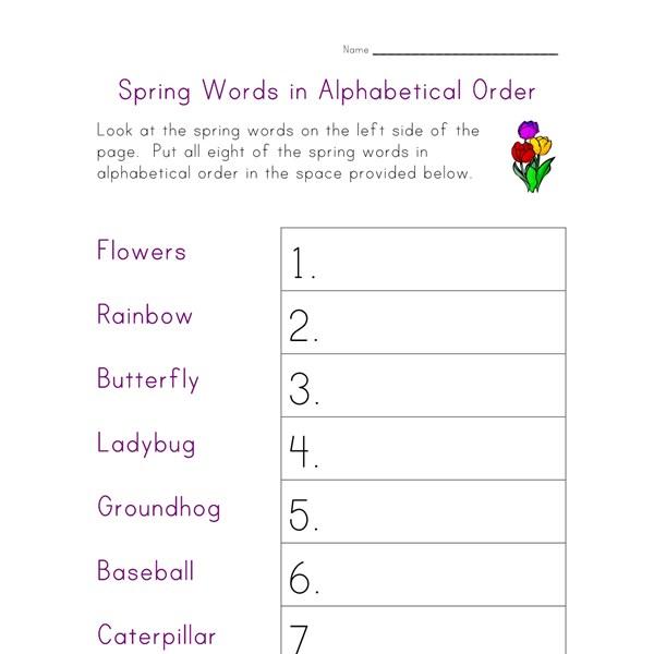 Free printable worksheets alphabetical order