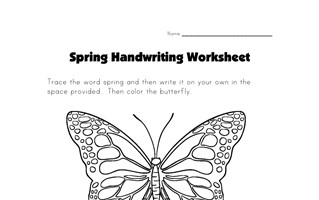 spring handwriting worksheet