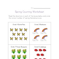 spring couunting worksheet